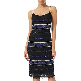 Adrianna Papell Petite Beaded Lace Slip Dress- Black/ Purple