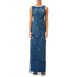 Adrianna Papell Petite Beaded Long Dress- Deep Blue
