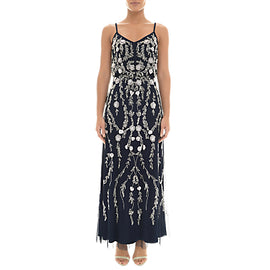 Adrianna Papell Petite Bead and Sequin Embellishment Maxi Dress- Midnight