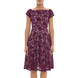 Adrianna Papell Lace Midi Dress Petite- Dark Magenta