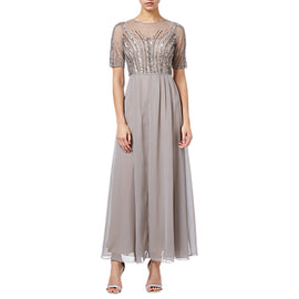 Adrianna Papell Petite Beaded Long Dress- Deep Platinum