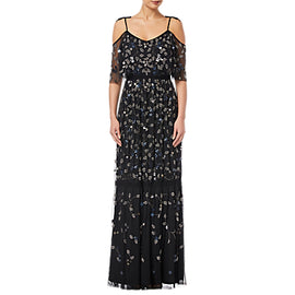 Adrianna Papell Petite Beaded Long Dress- Black
