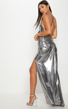Silver Metallic Ruched Back Extreme Split Maxi Dress- Grey