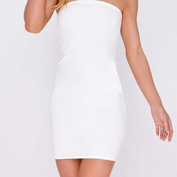 White Dresses - Evania White Bandeau Mini Dress