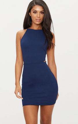 Navy High Neck Cut Out Bodycon Dress- Blue