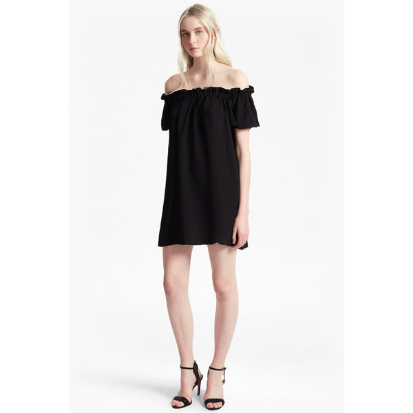 Evening Dew Oversized Bardot Dress - black