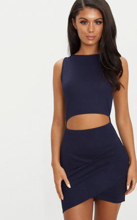 Navy Cut Out Detail Wrap Skirt Bodycon Dress- Blue
