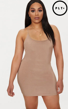 Plus Taupe Second Skin Slinky Spaghetti Strap Bodycon Dress- Brown