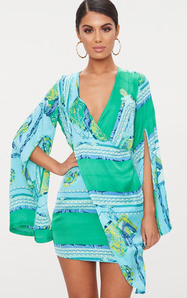 Turquoise  Scarf Print Flared Sleeve Wrap Bodycon Dress- Blue