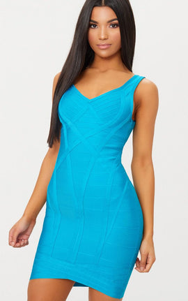Teal Bandage Plunge Wrap Skirt Bodycon Dress- Blue