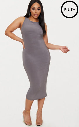 Plus Charcoal Grey Second Skin Slinky Racer Neck Midaxi Dress- Charcoal Grey