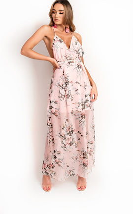 IKRUSH Womens Flossy Backless Floral Maxi Dress