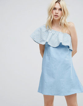 A State Of Being Gale One Shoulder Frilll Dress - Chambray