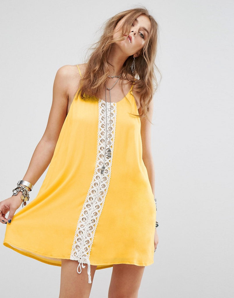 Kiss The Sky Festival Cami Dress With Lace Panel - Yellow