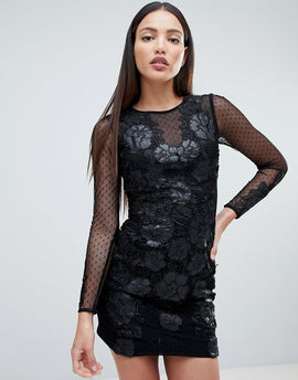 Forever Unique Floral Lace Bodycon Dress - Black