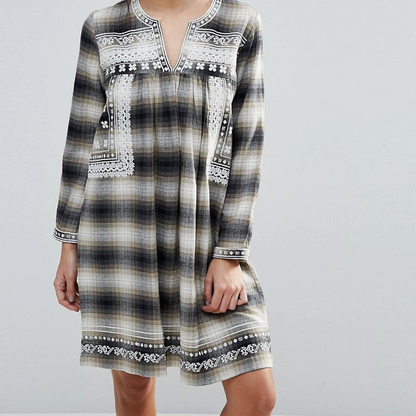 d.RA Shia Checked Dress with Embroidered Yoke - September plaid