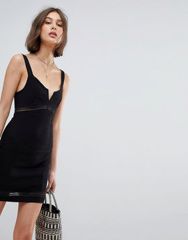 Free People Bodycon Slip Dress - Black