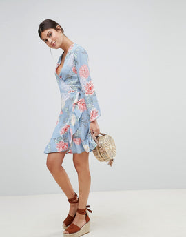 PrettyLittleThing Floral Wrap Dress - Blue