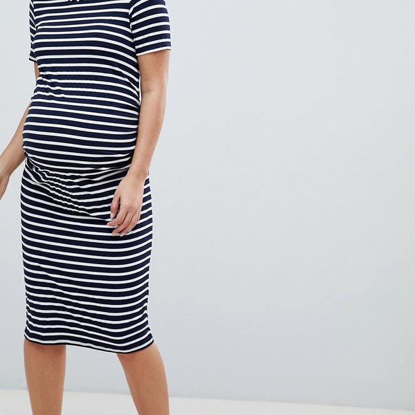 Bluebelle Maternity Stripe Jersey Bodycon Dress - Navy