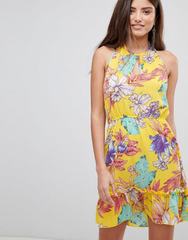 PrettyLittleThing Floral Haterneck Skater Dress - Yellow