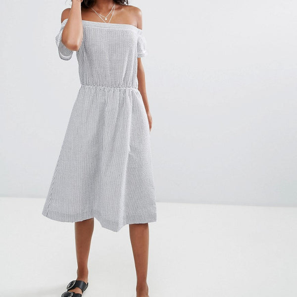 d.RA Santelle Off Shoulder A-Line Dress - Seersucker