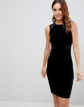 French Connection Viven Velvet Panel Bodycon Dress - Black