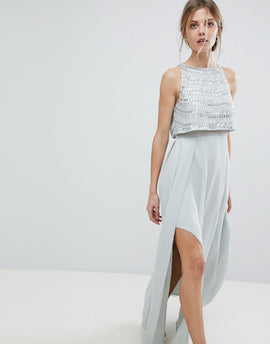 ASOS Silver Embellished Crop Top Maxi Dress - Ice blue