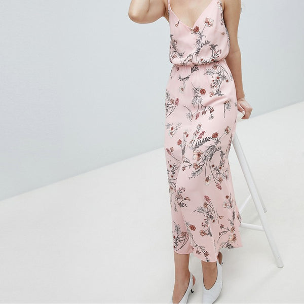 Oh My Love Buttoned Cami Maxi Dress In Floral Print - Pink floral