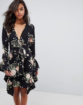 PrettyLittleThing Floral Frill Detail Wrap Dress - Black