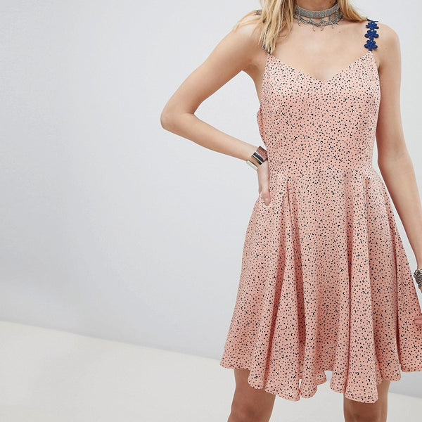 Kiss The Sky Cami Skater Dress With Lace Up Back In Star & Moon Ditsy Print - Peach