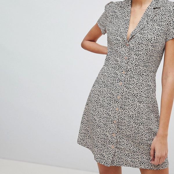 Glamorous Button Down Tea Dress In Dalmatian Spot - Spot