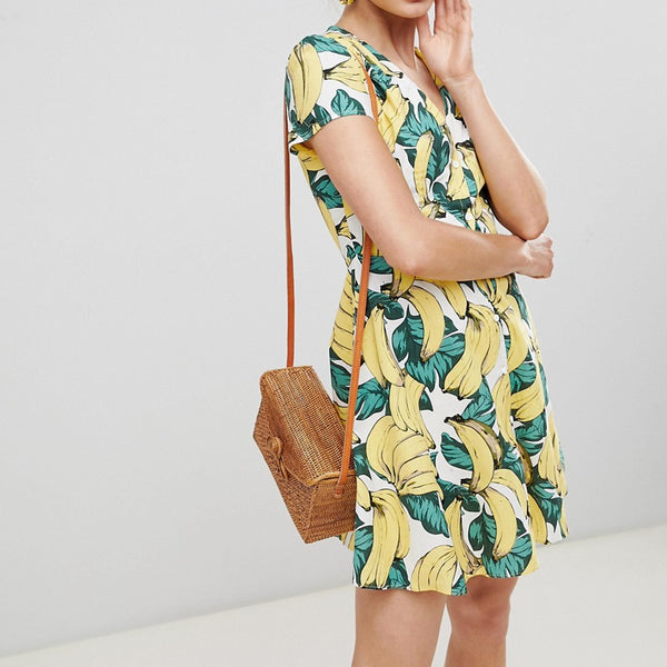 Glamorous Button Down Tea Dress In Banana Print - Banana print