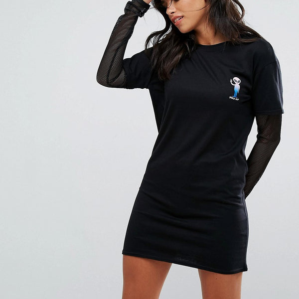 Heartbreak Alien T-Shirt Dress With Mesh Sleeves - Black