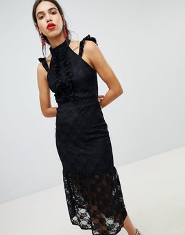 Lost Ink Lace Midi Dress In Bodycon With Frill Placket - Black