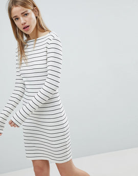 JDY Striped Bodycon Dress - White