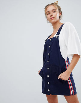 Bershka dungaree dress in navy - Navy blue