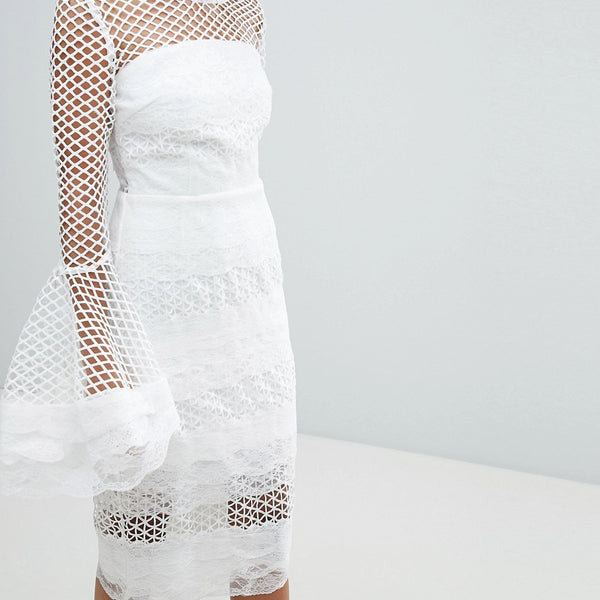 Bronx and Banco Fluted Sleeve Lace Midi Dress - White