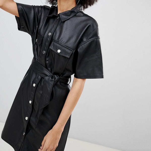 Bershka Button Front Leather Look Mini Dress - Black
