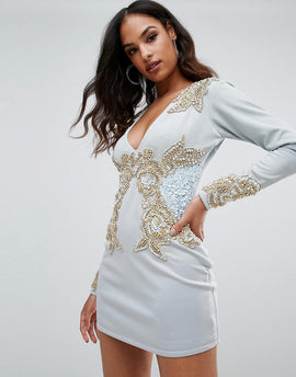 A Star Is Born Long Sleeve Heavily Embellished Dress With V Front - Duck egg