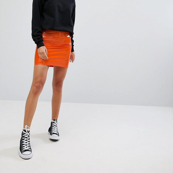 Heartbreak Vinyl Skirt - Orange