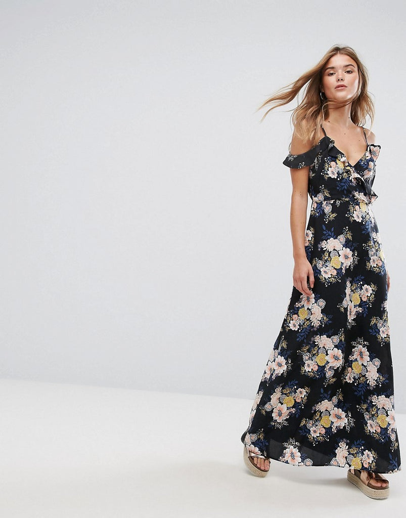 Pimkie Cold Shoulder Floral Maxi Dress - Black pattern