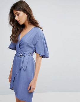 A State Of Being Embrace Wrap Dress - Chambray