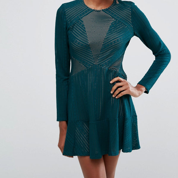 BCBGMAXAZRIA Panelled Mini Dress - Dark teal