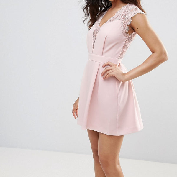 BCBG Lace Front Cocktail Dress - Rose smoke