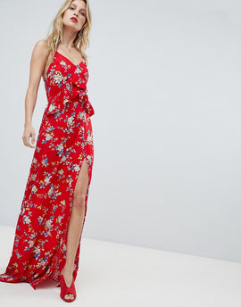 PrettyLittleThing Floral Side Split Maxi Dress - White