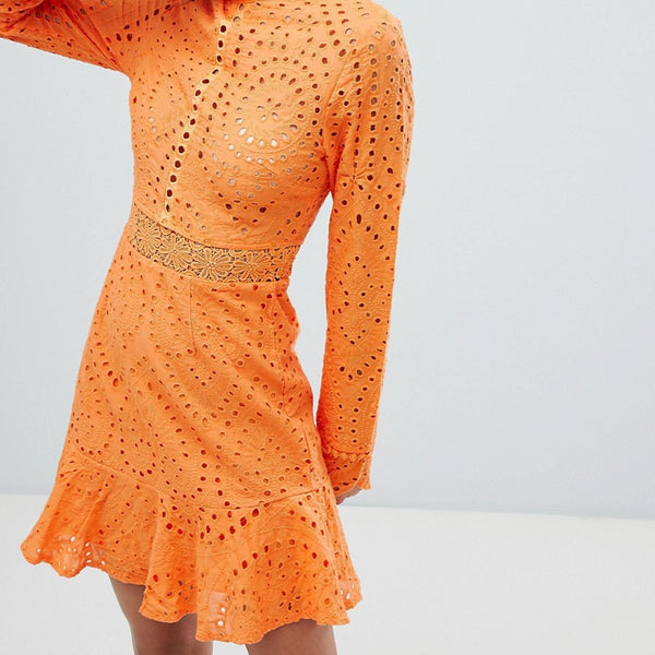 Lioness High Neck Cutwork Lace Mini Skater Dress - Tangerine