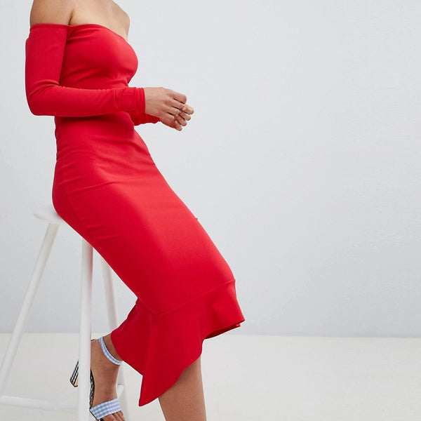 Missguided Bardot Fishtail Hem Dress - Red