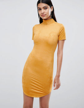 Lasula suedette high neck bodycon dress in Yellow - Yellow