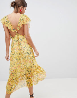 PrettyLittleThing Floral Tie Back Midi Dress - Mustard