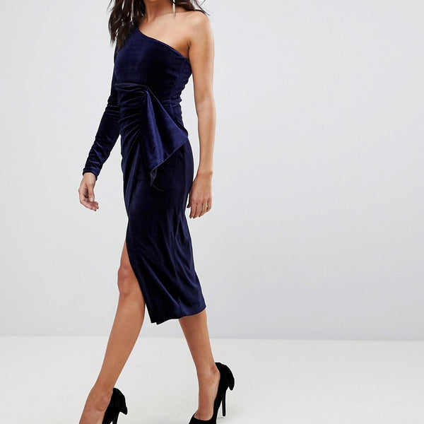 Lavish Alice One Shoulder Midi Dress With Twist Detail In Velvet - Berry